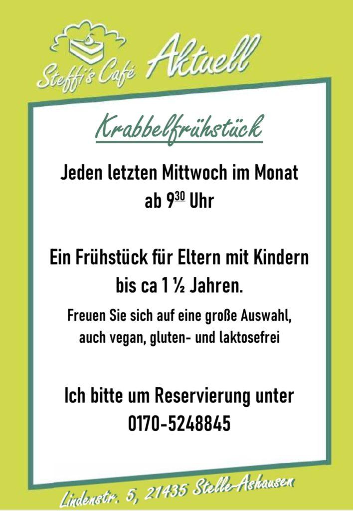 Jeden letzten Mittwoch im Monat ist ab 9:30 Uhr Frühstück für Erwachsene mit Kindern bis ca 18 Monaten.   Reservierung erforderlich! 0170-5248845